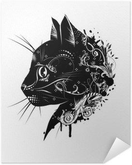 Poster Autocollant Ein floral verzierter Katzenkopf im Scherenschnitt Stil__ de Kopf einer Katze