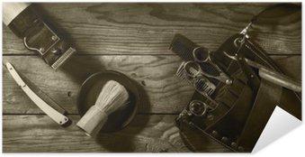 Poster Autocollant Ensemble Vintage de Barbershop.Toning sépia