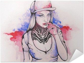 Poster Autocollant Fille dans un chapeau et tatouages