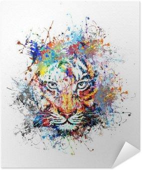 Poster Autocollant Fond clair avec le tigre