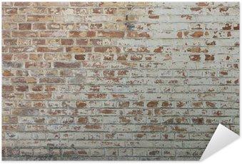 Poster Autocollant Fond de vieux mur de brique sale vintage avec du plâtre pelage