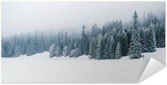 Poster Autocollant Hiver forêt blanche de neige, fond de Noël