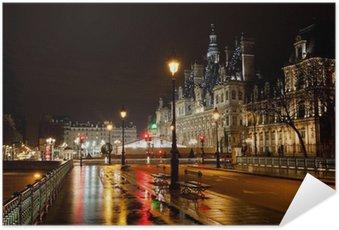 Poster Autocollant Hôtel de Ville à Paris la nuit