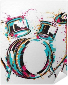 Poster Autocollant Kit tambour avec des touches de style aquarelle. dessiné à la main Colorful illustration vectorielle
