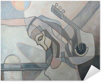 Poster Autocollant Peinture abstraite Avec Femme et guitare