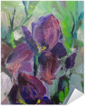 Poster Autocollant Peinture nature morte peinture à l'huile texture, iris impressionisme un