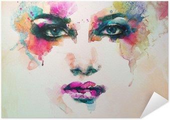 Poster Autocollant Portrait de femme. aquarelle abstraite. mode arrière-plan