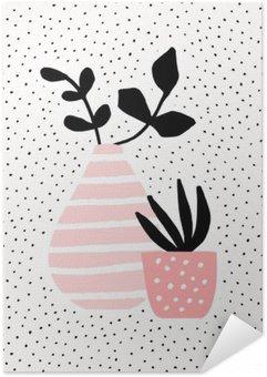 Poster Autocollant Rose Vase et Pot avec des plantes