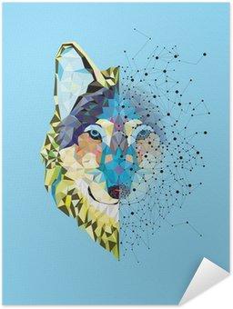 Poster Autocollant Tête Wolf en motif géométrique avec le vecteur de ligne étoile