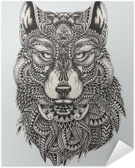 Poster Autocollant Très résumé détaillé loup illustration