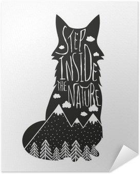 Poster Autocollant Vector dessiné à la main lettrage illustration. Entrez dans la nature. affiche Typographie renard, montagnes, forêt de pins et de nuages.