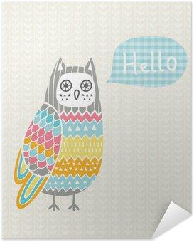 Poster Autocollant Vector illustration avec le hibou coloré