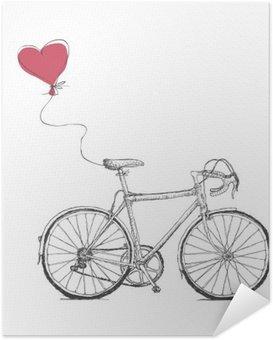 Poster Autocollant Vintage Valentines Illustration avec vélos et coeur Baloon
