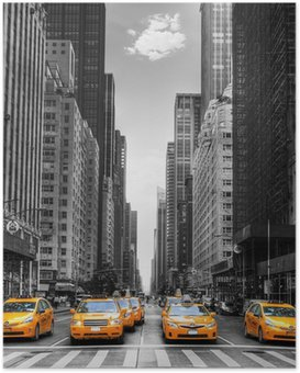 Poster Avenue med taxi i New York.