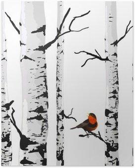 Póster Aves de abedules, dibujo vectorial con elementos editables.