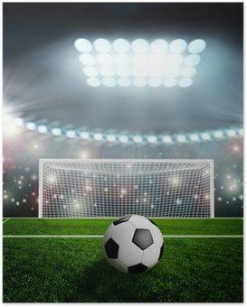Poster Ballon de soccer sur scène du stade vert
