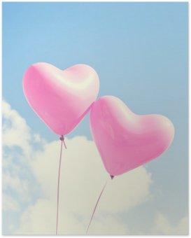 Poster Ballons roses de coeur