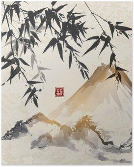 Poster Bamboo et les montagnes. Japonaise peinture à l'encre sumi-e traditionnel. Contient hiéroglyphe - Double chance.