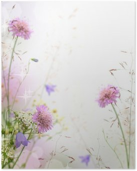 Beautiful pastel floral border - blurred background Poster