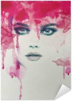 Poster Beautiful woman. watercolor illustration