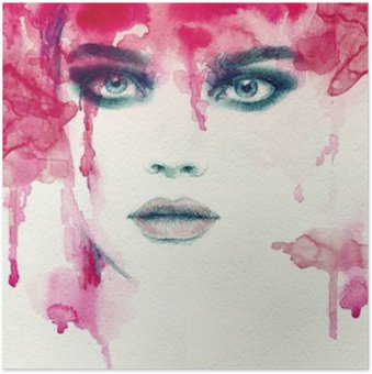 Beautiful woman. watercolor illustration Poster