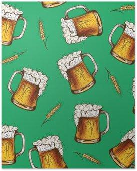 Poster Beer naadloos patroon. vector illustratie