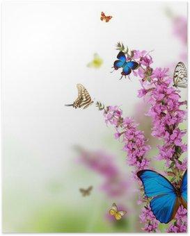 Poster Belle fleur fond avec les papillons exotiques