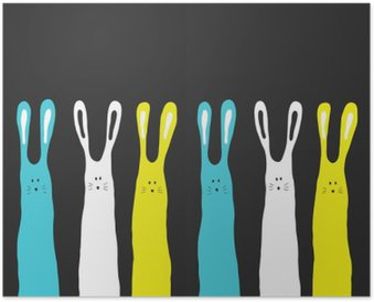 Big colors rabbits background, vector illustration Poster