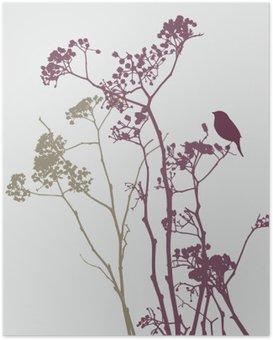 bird on meadow flowers Poster