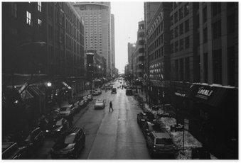 Poster Blanc Chicago Rues Noir et