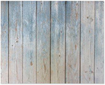 Poster Blauwe vintage houten achtergrond