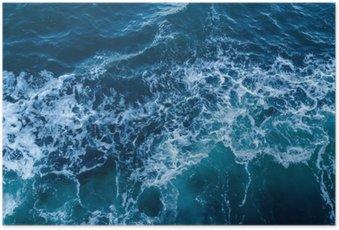 Poster Blauwe zee textuur met golven en schuim