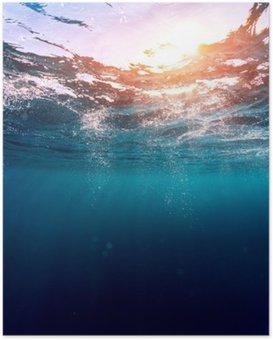 Poster Blauwe zee