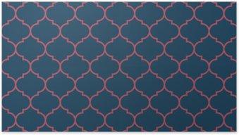 Poster Bleu et bordeaux large vecteur sombre Seamless pattern moroccan