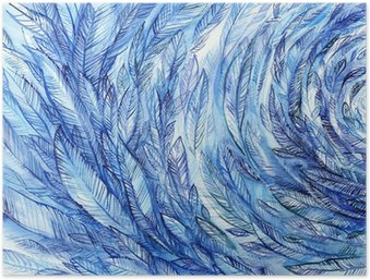 Poster blue feathers in a circle, watercolor abstract background