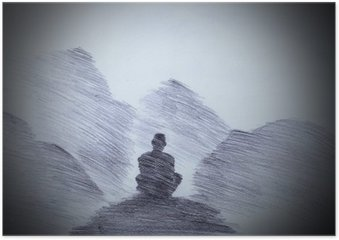 Poster Boeddhistische monnik in de bergen