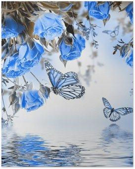 Poster Boeket van delicate rozen en vlinder, bloemen achtergrond