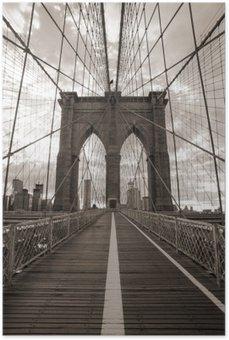 Brooklyn Bridge in New York City. Sepia tone. Poster