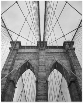 Brooklyn Bridge New York City close up architectural detail in timeless black and white Poster