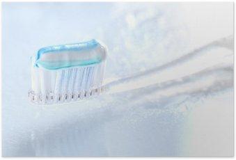Poster Brosse à dents sqweezed sur fond blanc