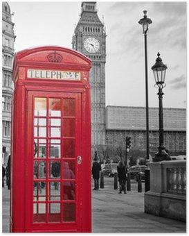 Poster Cabine téléphonique rouge à Londres avec Big Ben en noir et blanc