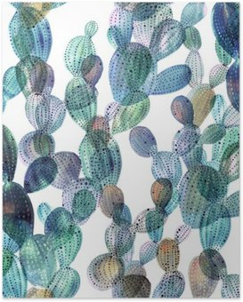 Cactus pattern in watercolor style. Poster