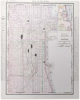 Fotomural Calle De Color Detallada De La Vendimia Mapa De La - Mapa de illinois