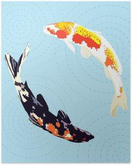 Poster Carpes chinoises, poissons koi japonais, illustration vectorielle