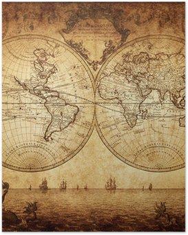 Poster Carte de cru du monde 1733