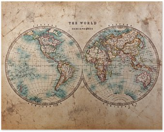 Poster Carte de Vieux Monde dans les hémisphères