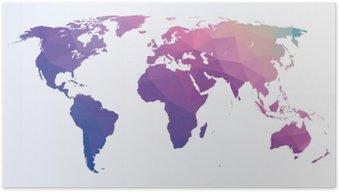 Poster Carte polygonale du monde