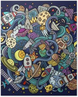 Poster Cartoon hand getekende doodles Space illustratie