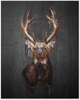 Poster Cerfs sur fond sombre. Peinture effet