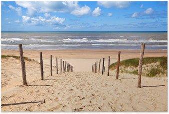 Poster Chemin de la plage de sable par la mer du Nord